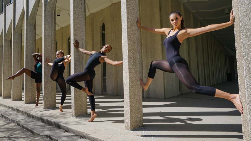 Dancers posing on campus