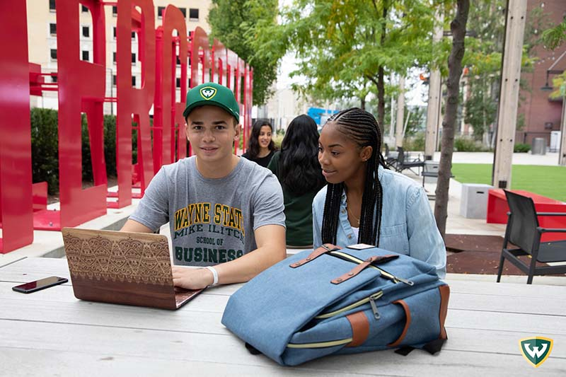 Students working in down town Detroit