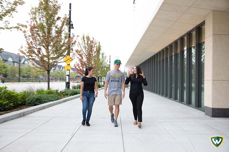 Students walking downtown